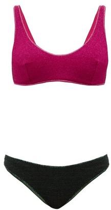 Oseree Lumiere Bi-colour Metallic Bikini - Womens - Pink Multi