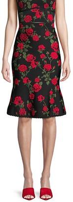 BCBGMAXAZRIA Floral A-Line Skirt