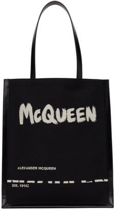 Alexander McQueen Black Graffiti Logo Tote