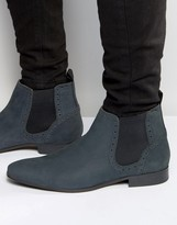 Asos Chelsea Boots in Navy Nubuck Leather