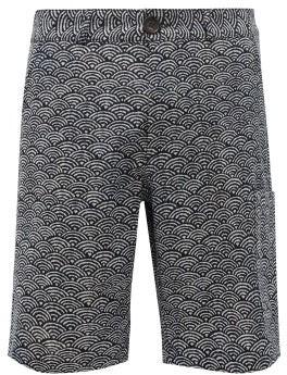 Oliver Spencer Judo Fan-print Organic-cotton Shorts - Mens - Navy Multi