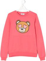 Moschino Kids heart eyed teddy sweatshirt