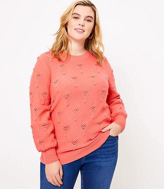 LOFT Plus Bobble Pointelle Sweater