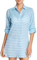 Tommy Bahama Breton Stripe Boyfriend Shirt Swim Cover-Up