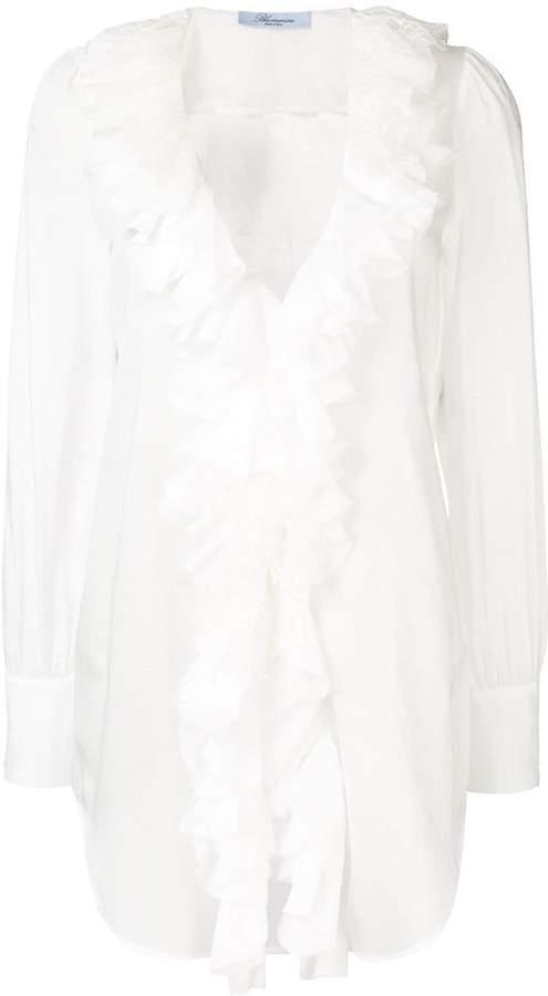 Blumarine ruffle trim shirt
