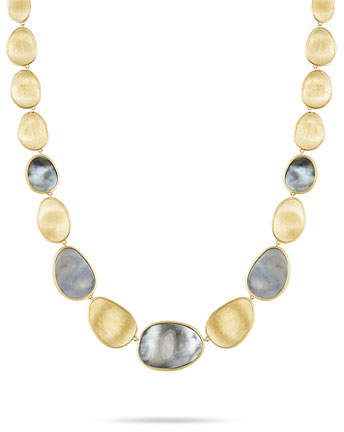 Marco Bicego Lunaria 18k Gold Collar Necklace with Black Mother of Pearl