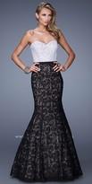 La Femme Colorblock Lace Long Dress