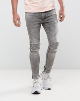 Religion Biker Jeans In Skinny Fit With Stretch In Grey Veins Wash