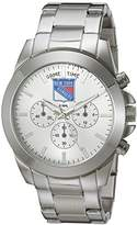 Game Time Women's 'Knock-Out' Quartz Stainless Steel Quartz Analog Watch, Color:Silver-Toned (Model: NHL-TBY-NYR)