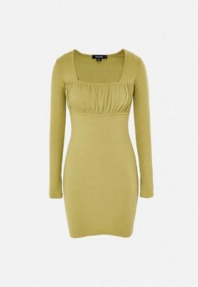 Missguided Green Rib Ruched Bust Mini Dress