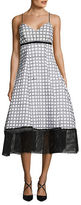 Tracy Reese Printed Mesh Trimmed Dress