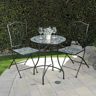 Alpine Corporation Indoor/Outdoor Marbled Glass Mosaic 3-Piece Bistro Set Folding Table and Chairs Patio Seating