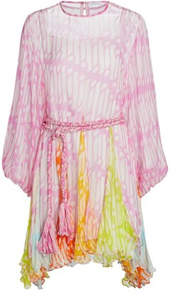 Rhode Resort Ella Belted Crinkle Chiffon Dress