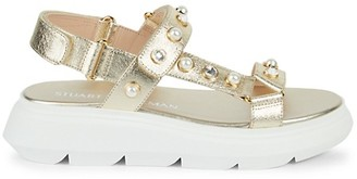 Stuart Weitzman Zoelie Embellished Metallic-Leather Flatform Sandals