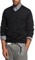 Brunello Cucinelli Fine-Gauge V-Neck Sweater