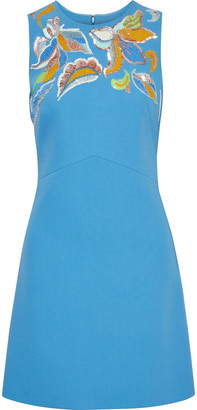 Emilio Pucci Embellished Wool-crepe Mini Dress