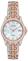 Citizen Eco-Drive Silhouette Crystal Rose Goldtone Stainless Steel Bracelet Watch