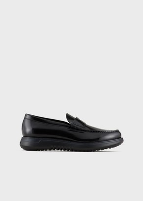 Giorgio Armani Antique-Leather Loafers With Oversized Soles