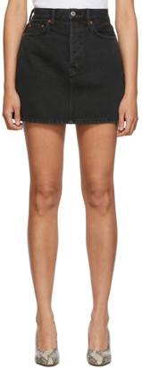 RE/DONE Black Denim 60s Miniskirt