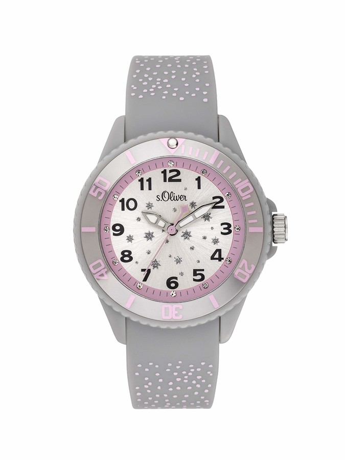 S'Oliver Girls Analogue Quartz Watch with Silicone Strap SO-3923-PQ
