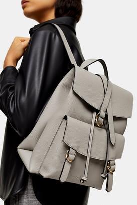 Topshop Womens Brit Grey Pu Backpack - Grey