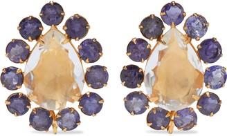 Bounkit 14-karat Gold-plated, Quartz And Iolite Earrings