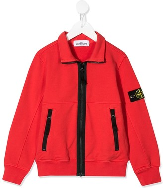 Stone Island Junior Zip-Up Logo Patch Jacket