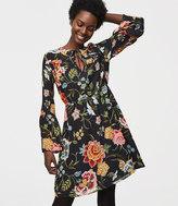 LOFT Petite Poppy Bloom Tie Neck Bell Sleeve Dress