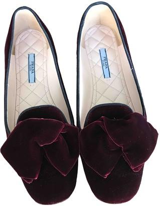 Prada Burgundy Velvet Flats