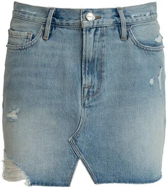 Frame Le Mini Skirt With Front Split