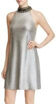 Design History Embellished Mock Neck Metallic Dress