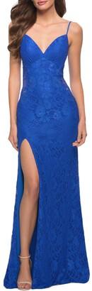 La Femme Sparkle Stretch Lace Open Back Sheath Gown