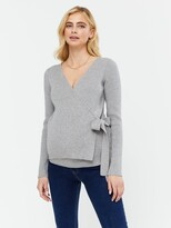Thumbnail for your product : New Look Maternity Rib Wrap Top - Light Grey