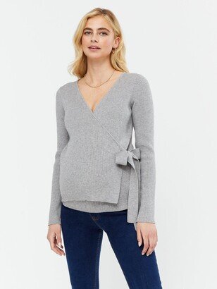 New Look Maternity Rib Wrap Top - Light Grey
