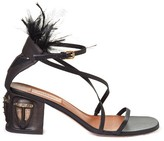 Valentino Tribal-mask ankle-strap leather sandals