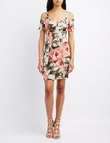 Charlotte Russe Floral Cold Shoulder Bodycon Dress