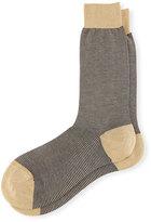 Pantherella Mid-Calf Birdseye Ankle Socks, Black