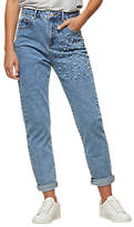 Miss Selfridge Mom Pearl Embellished Jeans, Mid Wash Denim