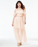 Speechless Trendy Plus Size Ruffled Cold-Shoulder Gown