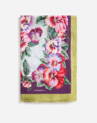 Dolce & Gabbana VIOLET PRINT SCARF IN MODAL AND CASHMERE 135 X 200CM- 53 x 78 INCHES