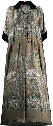 Sacai Tropical Print Maxi Shirt Dress