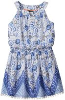My Michelle Girls 7-16 Patterned Pom-Pom Trim Dress
