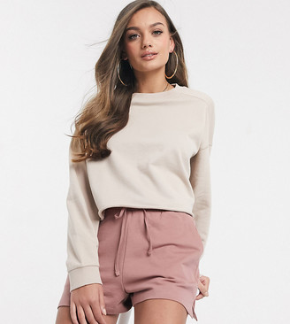 ASOS DESIGN Petite oversized boxy sweat with stitch detail in stone