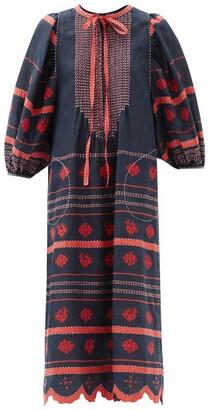 Vita Kin Embroidered Linen Dress - Navy Multi