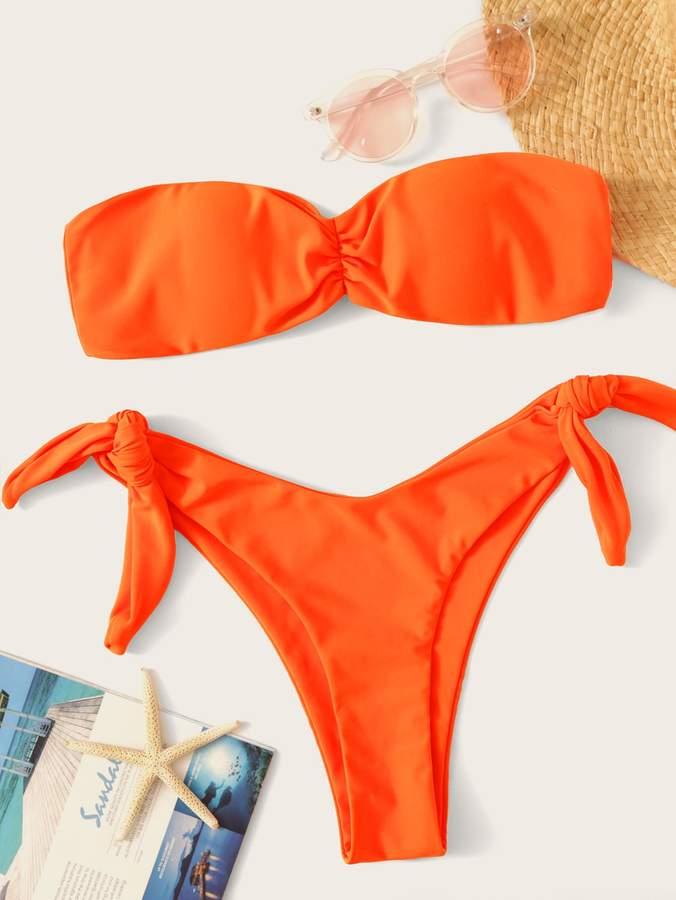 Shein Neon Orange Bandeau With High Cut Bikini Set