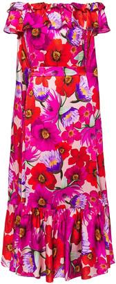 Borgo de Nor Agata Off-the-shoulder Floral-print Hammered Silk-satin Midi Dress