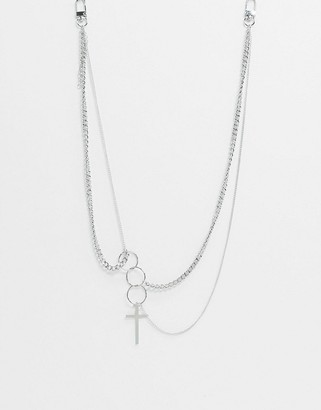 Vibe + Carter Vibe and Carter chunky neckchain in silver with cross and ring pendants exclusive to ASOS