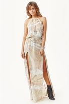 Blue Life Halter 2-Slit Dress in Waterfall Tie Dye