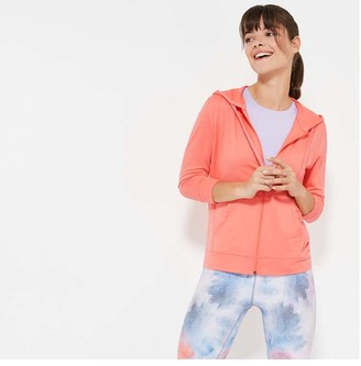 Joe Fresh Women's French Terry Active Hoodie, Light Coral (Size L)