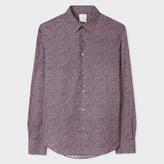 Men's Slim-Fit Pink 'Cactus Flower' Print Cotton Shirt With 'Artist Stripe' Cuff Lining